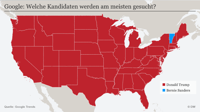 Karte Google Trends USA Präsidentschaftskandidaten (Karte: DW)