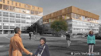 Imagined picture of refugee housing rather like school buildings and people standing about