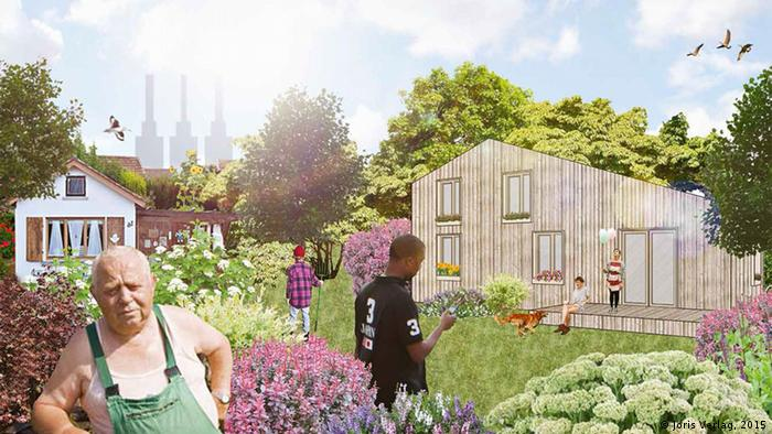 Imagined picture of what refugee housing could look like, with various houses set amid parklands and people standing about