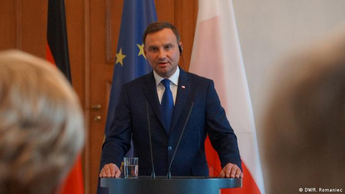 Polish President Andrzej Duda speaks at an event