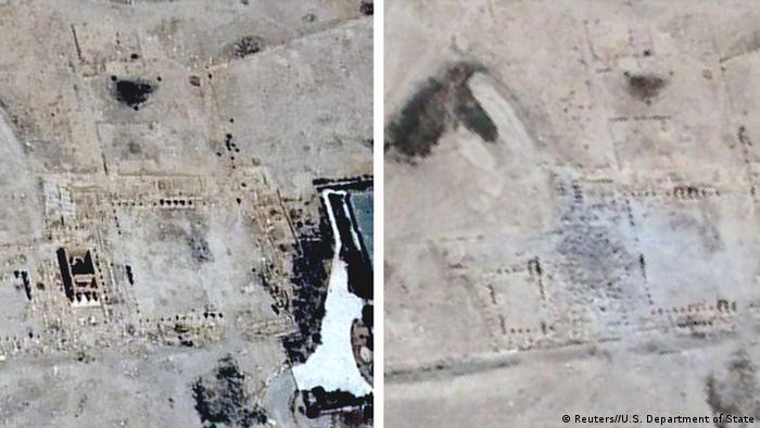 Imágenes de satélite de la destrucción del templo de Bel.