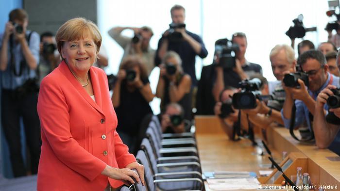 Анґела Меркель під час прес-конференції у Берліні 31 серпня