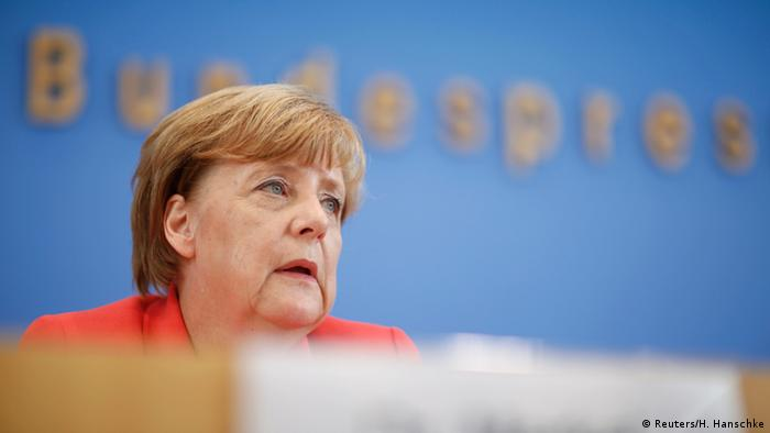 German Chancellor Angela Merkel at press conference