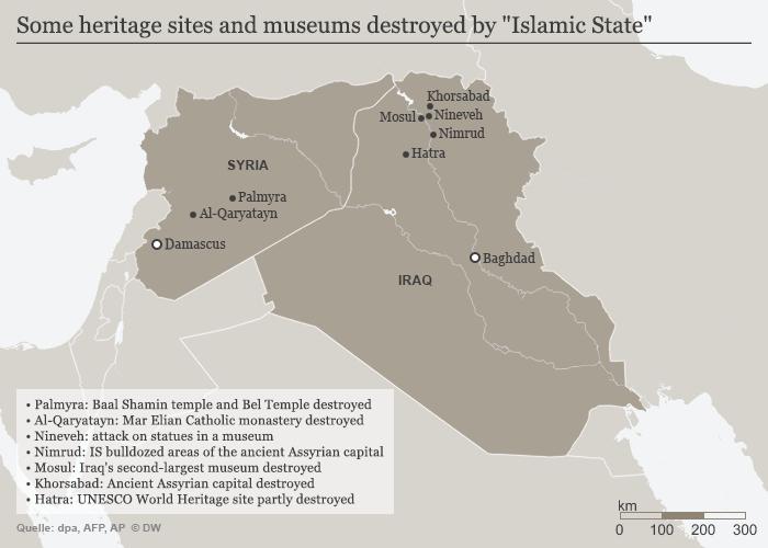 Infografik IS Zerstörung von Kulturgüter in Irak und Syrien Englisch