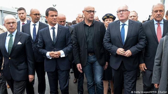 Frankreich Manuel Valls in Calais mit Timmermans und Avramopoulos NEU