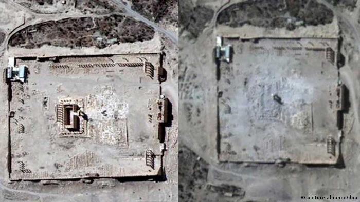 Palmyra zerstörung baal-tempel satellitenaufnahmen UN 1.9.15