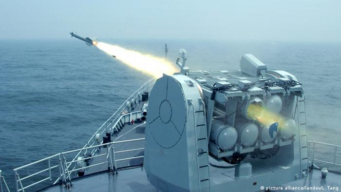 The undated photo shows a Chinese People's Liberation Army (PLA) Navy's warship launching a ship-to-air missile during a routine live-ammunition training in the East China Sea (Photo: Xinhua /Landov)