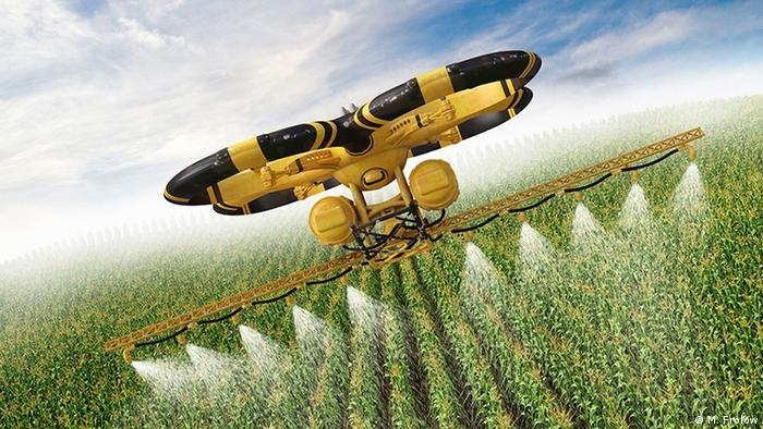 Drohne sprüht Pestizide