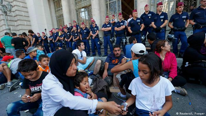 Refugees at Budapest train station in Hungary