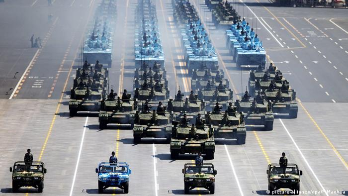 A picture released by Xinhua News Agency shows infantry fighting vehicles (IFVs) on Tiananmen Square during the military parade marking the 70th Anniversary of the Victory of Chinese People's Resistance against Japanese Aggression and World Anti-Fascist War in Beijing, China, 03 September 2015.