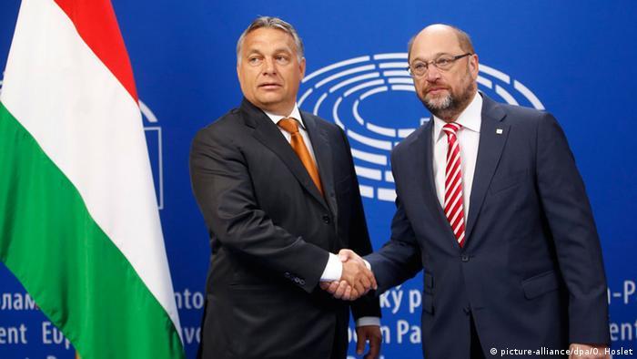 Belgien Viktor Orban und Martin Schulz EU Parlament Brüssel