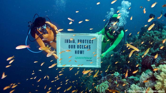 Greenpeace India activists underwater