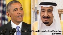 ARCHIV - KOMBO - Eine Kombo zeigt US-Präsident Barack Obama (l, am 15.07.2015 in Washington D.C., USA) und den König von Saudi Arabien, Salman bin Abdelasis (am 08.03.2015 in Riad, Saudi-Arabien). Foto: Michael Reynolds/epa/Bernd von Jutrczenka/dpa (Zu dpa Eine schwierige Freundschaft: Salman und Obama als notwendige Partner) +++(c) dpa - Bildfunk+++