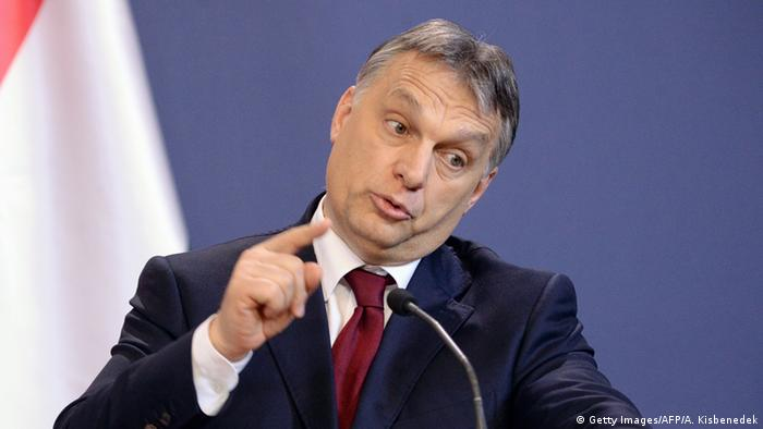 Hungary's Prime Minister Viktor Orban speaking at a conference