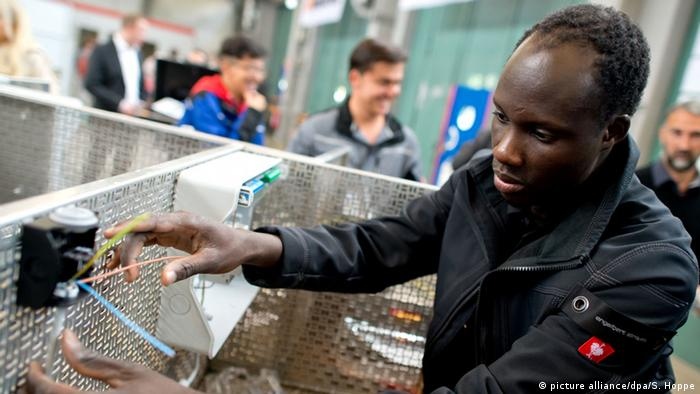 A Somali refugee receives vocational training in Munich, Germany