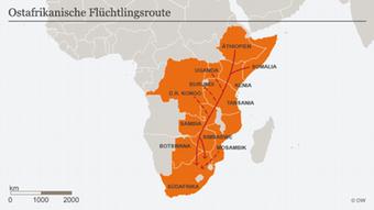 Karte Ostafrikanische Flüchtlingsroute