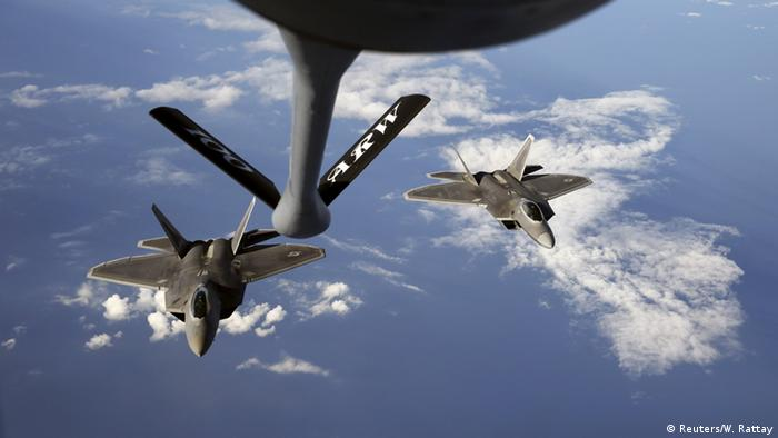 NATO F-22 Raptors flying patrol