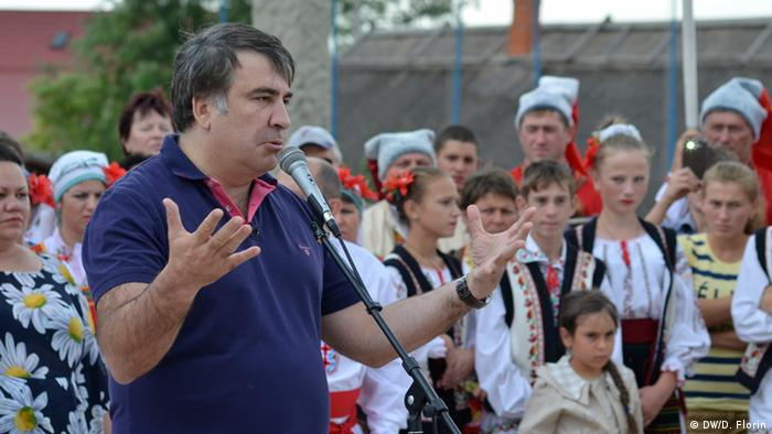 Georgia's former president Mikheil Saakashvili addressing a gathering.