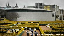 epa04912917 Visitors walk trough a maze of sunflowers to celebrate the opening of the new entrance of the Van Gogh Museum at the Museum square in Amsterdam, The Netherlands, 04 September 2015. EPA/REMKO DE WAAL +++(c) dpa - Bildfunk+++
