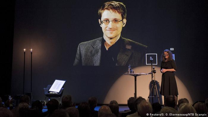 Edward Snowden accepts the Bjornson prize via live video feed in Norway