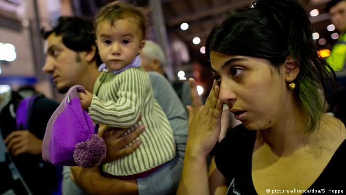 Беженцы на вокзале в Мюнхене