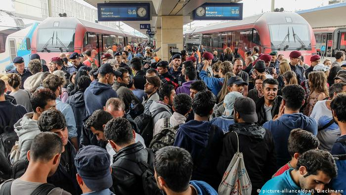Refugees at Munich train station
