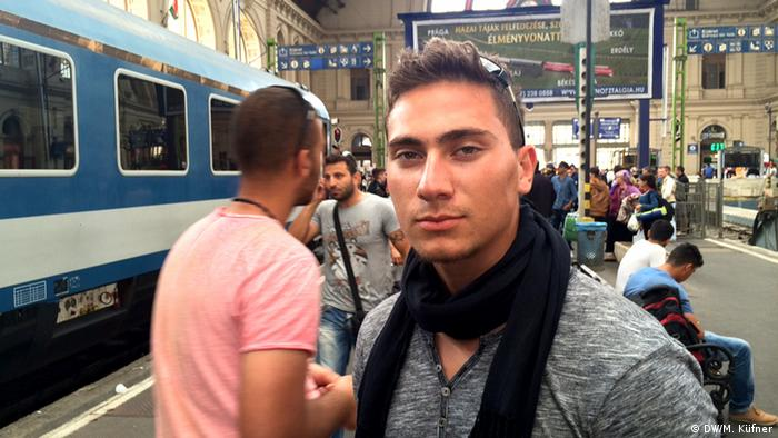 Ahmed Abdallah from Iraq at Budapest railway station