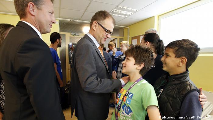 Premierminister Finlands Juha Sipila bei einem Empfang in Oulu