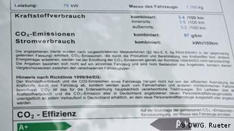 Información de los vendedores sobre emisiones y consumos.