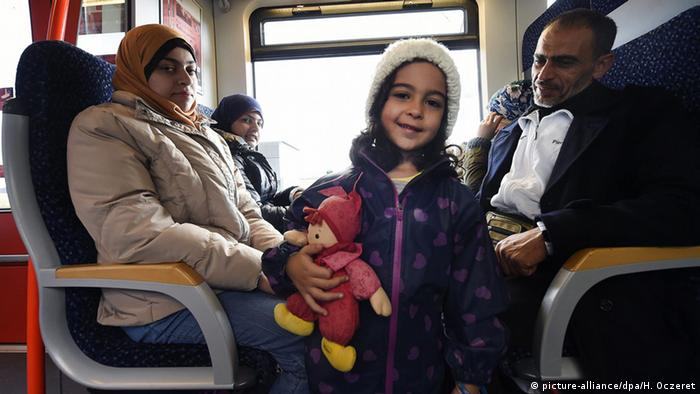 A young refugee on a train