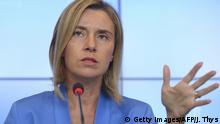 Bildunterschrift:High Representative of the Union for Foreign Affairs and Security Policy and Vice-President of the Commission, Federica Mogherini gives a press conference on the second day of the EU Foreign Affairs Council meeting in Luxembourg on September 5, 2015. AFP PHOTO/JOHN THYS (Photo credit should read JOHN THYS/AFP/Getty Images)