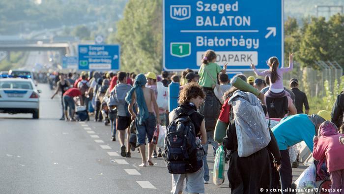 Беженцы идут по автомагистрали в направлении Австрии.