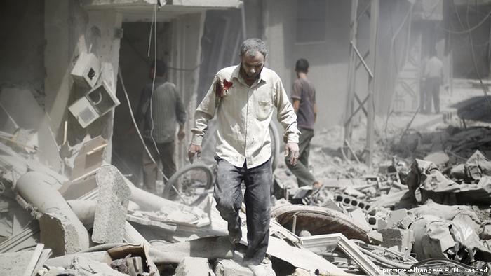 Дамаск. Разрушенные в результате авианалета дома