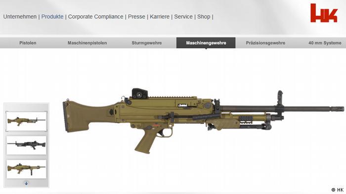 Screenshot heckler-koch.com Produktpräsentation Maschinengewehr MG5