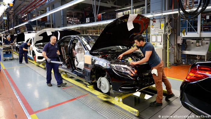 Workers at a Mercedes-Benz factory in Sindelfingen, Germany.