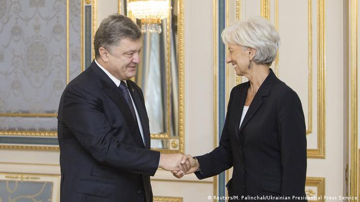Президент Петро Порошенко і голова МВФ Крістін Лаґард (архівне фото)