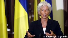 6.9.2015 *** International Monetary Fund (IMF) Managing Director Christine Lagarde speaks during a news conference after a meeting with Ukrainian President Petro Poroshenko (not pictured) in Kiev, Ukraine, September 6, 2015. REUTERS/Valentyn Ogirenko