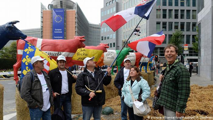 Farmers protest in front of the European Parliament in Brussels