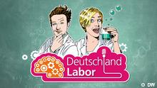Grafik von Nina und David vom Deutschlandlabor hinter dem Logo der Serie (DW)