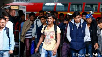 Refugees at Munich train station in southern Germany