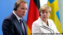Swedish Prime Minister Stefan Lofven and German Chancellor Angela Merkel (R) adress a news conference at the Chancellery in Berlin, Germany September 8, 2015. German Chancellor Angela Merkel and Sweden's Prime Minister Stefan Lofven, whose countries along with Austria currently take in the largest number of refugees, hold a joint news conference after their talks in Berlin. REUTERS/Fabrizio Bensch