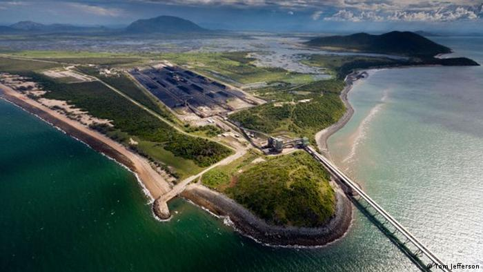 Aerial photo of the Abbott Point coal port terminal on the Great Barrier Reef (Photo: Tom Jefferson)