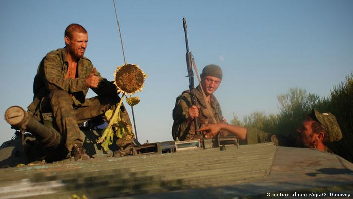 Soldiers of the 1st Slavic Brigade of the Donetsk People's Republic (DPR) Militia in a position near the contact line with the Ukrainian Army in Donetsk Region.