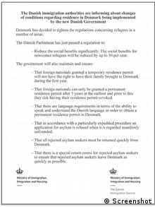 The English ad that the Danish authorities had published in Lebanese newspapers