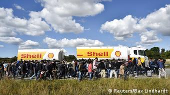 Dänemark Flüchtlinge auf der Straße