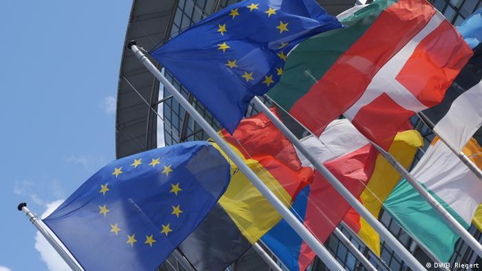 Flaggen vor dem Europäischen Parlament (DW/B. Riegert)