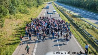 Dänemark Kliplev Autobahn Flüchtlinge