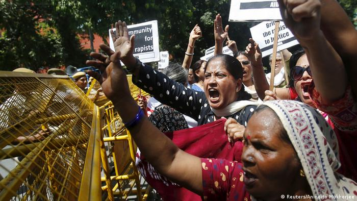 Around 50 protesters gathered outside the Saudi embassy in New Delhi demanding justice for two Nepali sexual assault victims