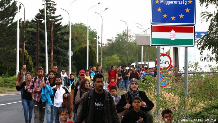 Ungarn Flüchtlinge an der Grenze zu Österreich