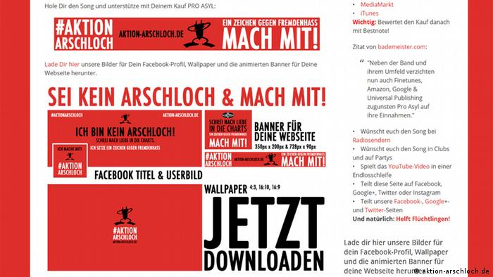 Screenshot der Website Aktion Arschloch